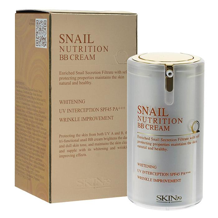 SKIN79 BB крем для лица Snail Nutrition с экстрактом улитки, 40 мл662888Обогащенный фильтратом улитки BB крем для лица SKIN79 «Snail Nutrition» защищает и сохраняет кожу здоровой и естественной. Защищая кожу от ультрафиолетовых лучей А и В типов, BB крем тройного действия оживляет тусклую кожу, выравнивает ее тон, отбеливает и борется с морщинами. Крем содержит 45% фильтрат корейской улитки, разглаживающий и выравнивающий кожу, предотвращает ее повреждения, сохраняет здоровой и увлажненной, формируя защитный слой. Благодаря своей легкой текстуре быстро впитывается, сохраняя яркость и естественный вид кожи в течение долгого времени. Способ применения: применять после основного ежедневного этапа ухода за кожей. Равномерно нанести BB крем на все лицо или на отдельные участки в качестве корректора или консилера при помощи рук.
