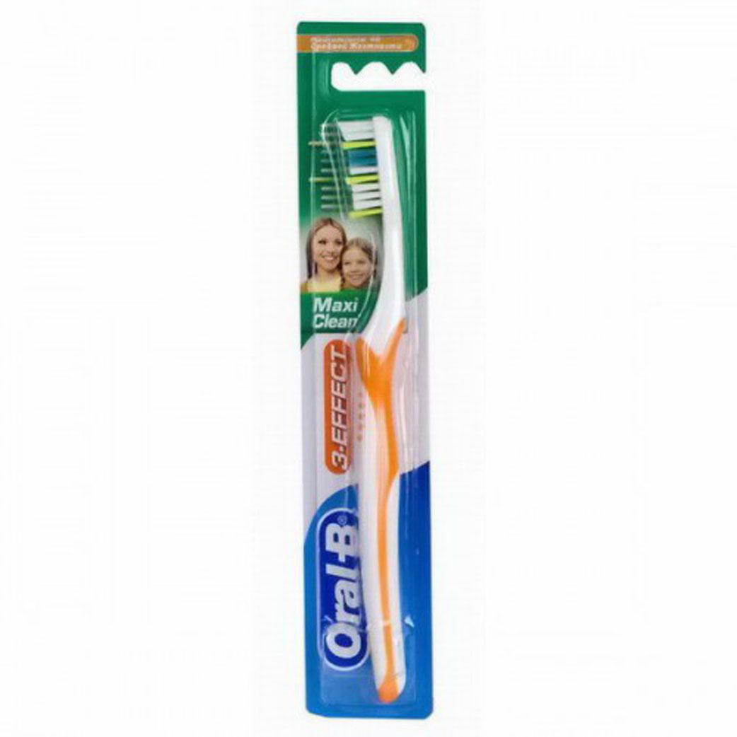 Oral-B Зубная щетка 3-Effect Maxi Clean, средняя жесткость, в ассортименте75065362Благодаря уникальным тройным плоским пучкам щетины, специально разработанным для того, чтобы глубоко проникать между зубами и удалять налет, щетка Oral-B 3-Effect Maxi Clean обеспечивает исключительное качество чистки. Более длинные щетинки на кончике щетки обеспечивает охват задних зубов; Голубые щетинки Indicator, обесцвечиваясь наполовину, сигнализируют об износе щетины и напоминают о необходимости замены зубной щетки; Эргономичная ручка обеспечивает комфорт и маневренность при чистке зубов.