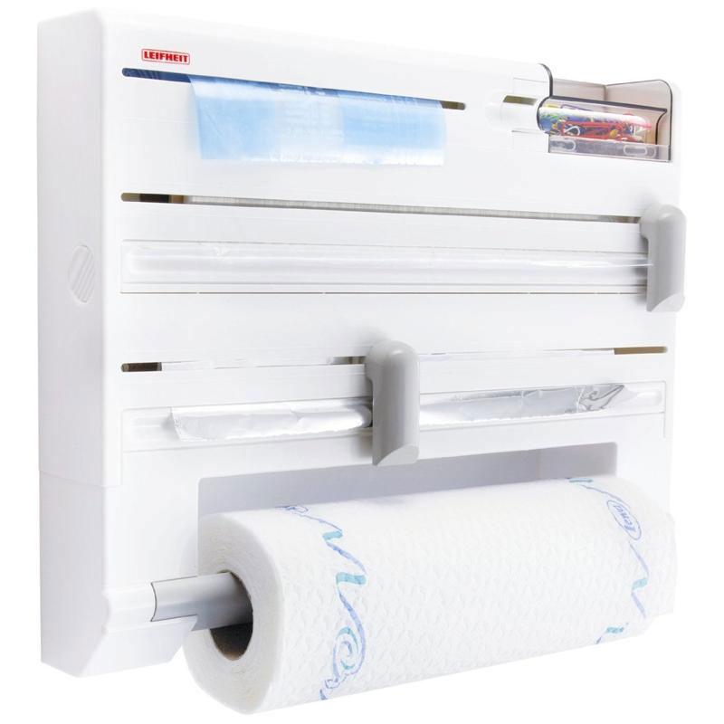 Держатель кухонный Parat Plus, цвет: белый25723Кухонный держатель Parat Plus, изготовленный из высокопрочного пластика, крепится к стене и не занимает много места. В держателе предусмотрены отделения для стандартных рулонов с бумажными полотенцами, полиэтиленовой пленкой (max 60 м), фольгой (max 30 м) и пакетами для замораживая, а также дозатор для скотча и контейнер для мелочей. Устройство оснащено режущими ползунками, которые обеспечивают всегда ровную резку фольги и пленки. После каждой резки всегда остается готовый к захвату край, благодаря чему отпадает необходимость в утомительном открывании прибора перед каждым применением. Рулоны закладываются спереди (открывается крышка, вставляется рулон и крышка закрывается). В комплект входят: кухонный держатель, крепежные элементы, рулон с бумажными полотенцами.
