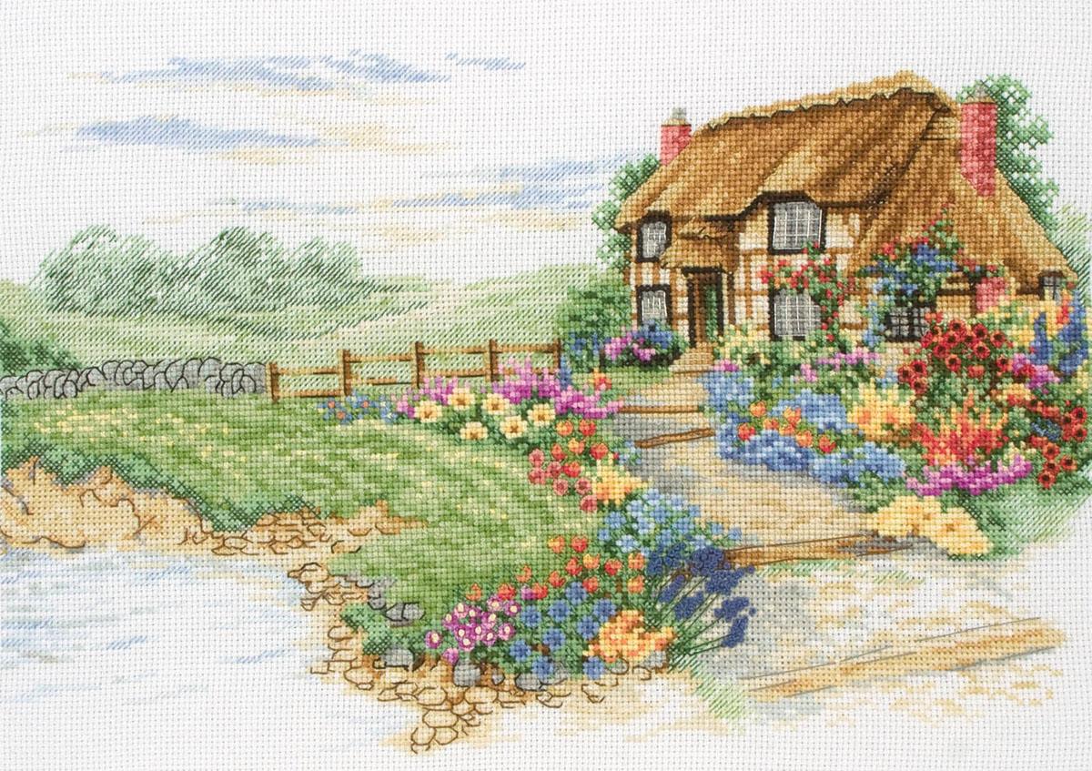 Вышивка крестом пейзаж с домиком