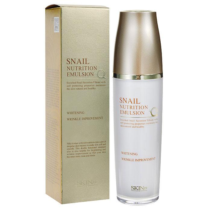 SKIN79 Эмульсия для лица Snail Nutrition с экстрактом улитки, 120 мл666657Эмульсия для лица SKIN79 «Snail Nutrition» с экстрактом слизи улитки. Шелковистая текстура эмульсии богата питательными веществами, прекрасно заботится о коже, помогает восстановить баланс кожи, делает кожу мягкой и гладкой. Многофункциональная эмульсия также является полезным помощником в борьбе против морщин, После применения эмульсии кожа приобретает чистый и упругий вид. Прекрасно высветляет и подтягивает кожу. Обильное содержание фильтрата улиточной секреции дает богатое питание и увлажнение для сухой и тусклой кожи, запатентованный состав морской улитки мягко заботится о чувствительной коже, помогает сохранить кожу гладкой и здоровой. Гиалуроновая кислота и бетаин в свою очередь помогают изменить тусклый и усталый вид кожи, восстанавливает водный баланс кожи. Способ применения: после использования тоника или ампульной сыворотки, равномерно распределите умеренное количество на все лицо и дайте впитаться.