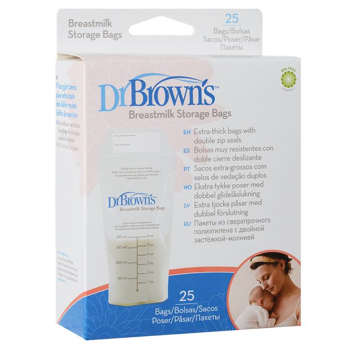 Dr.Browns Пакеты для хранения молока 25 штS4005Пакеты Dr.Browns предназначены для хранения сцеженного грудного молока. Они выполнены из сверхпрочного полиэтилена и снабжены двойной застежкой-молнией, благодаря чему обеспечивают герметичность для сохранения грудного молока. Специальное расширение в основании пакета позволяет удерживать его в вертикальном положении. Пакеты идеально подходят для хранения молока в холодильнике или морозильной камере. В комплект входят 25 пакетов.