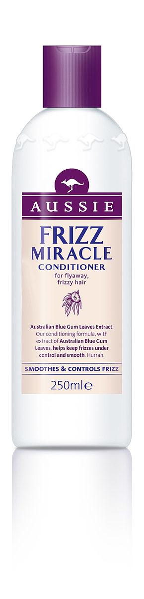 Aussie Бальзам-кондиционер Frizz Miracle, для непослушных волос, 250 мл81446443Призови непослушные волосы к порядку! Aussie Frizz Miracle поможет укротить непослушные, склонные к пушению волосы, и сделать их роскошно гладкими. В составе кондиционера есть экстракт листьев австралийского Шаровидного Эвкалипта, который глубоко питает волосы, помогая им сохранить собственную влагу, а также окутывает их невидимым слоем, не позволяя влажности испортить твою прическу. - Бальзам-ополаскиватель Aussie Frizz Miracle с экстрактом листьев австралийского Шаровидного Эвкалипта окутывает волосы невидимой пленкой против влажности. Способ применения: Начните с шампуня Aussie Frizz Miracle, затем нанесите на уже чистые волосы немного бальзама-ополаскивателя Frizz Miracle. Промойте теплой водой.