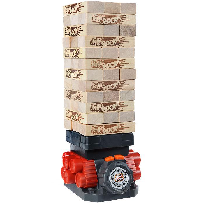 Настольная игра Дженга БумA2028E24Настольная игра Дженга Бум позволит вам и вашему ребенку весело провести время в кругу друзей или семьи. На платформе с детонатором выстраивается башня из деревянных брусочков. Перед этим необходимо вытянуть веревку детонатора до упора, поднять платформу и выложить все бруски на платформу по три в ряд. Во время своего хода игрок должен нажать на кнопку со стрелкой, чтобы активировать детонатор. Затем одной рукой вынуть брусок из любого уровня и положить его наверх башни и нажать на кнопку с квадратиком. Если башня взорвалась - вы проиграли. Последний игрок, который сможет поставить брусок и остановить детонатор до того, как башня взорвется, становится победителем. В комплект игры входят: деревянные бруски, детонатор, картонный рукав для строительства башни и правила игры на русском языке.