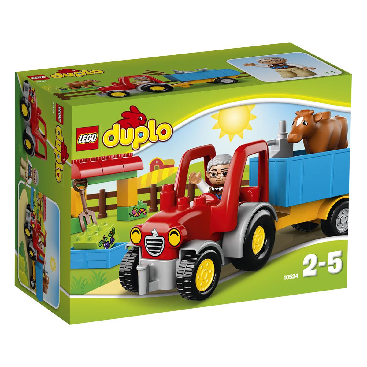 LEGO DUPLO Конструктор Сельскохозяйственный трактор 1052410524Запрыгивайте вместе с ребенком на сельский трактор и отправляйтесь к загону, где живет милая коровка и ждет, чтобы ее покормили. Поднимите прицеп, разгрузите корм и помогите старому фермеру накормить корову вкусным кормом до того, как она отправится вздремнуть. Если трактор сломается, вы сможете сами починить его с помощью масленки и гаечного ключа. В этот веселый набор входит фигурка старого фермера LEGO DUPLO, забор, несколько ярких, цветных кубиков. Конструктор - это один из самых увлекательнейших и веселых способов времяпрепровождения. Ребенок сможет часами играть с конструктором, придумывая различные ситуации и истории. В процессе игры с конструкторами LEGO дети приобретают и постигают такие необходимые навыки как познание, творчество, воображение. Обычные наблюдения за детьми показывают, что единственное, чему они с удовольствием посвящают время - это игры. Игра - это состояние души, это веселый опыт познания реальности. Играя, дети создают собственные миры,...