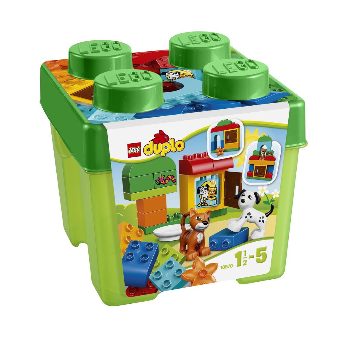LEGO DUPLO Конструктор Лучшие друзья Кот и Пес 1057010570Подарочный набор LEGO DUPLO Лучшие друзья. Кот и Пес серии LEGO DUPLO доставит массу удовольствия вам и вашему ребёнку, ведь в нем так много замечательных весёлых кубиков LEGO DUPLO, которые интересно собирать и перестраивать. Набор продается в ярком контейнере в форме классического кубика LEGO. Построй дерево, дом и даже небольшие домики для кота и собачки, в которых можно играть. Набор включает в себя 30 разноцветных пластиковых элементов. Конструктор - это один из самых увлекательнейших и веселых способов времяпрепровождения. Ребенок сможет часами играть с конструктором, придумывая различные ситуации и истории. В процессе игры с конструкторами LEGO дети приобретают и постигают такие необходимые навыки как познание, творчество, воображение. Обычные наблюдения за детьми показывают, что единственное, чему они с удовольствием посвящают время - это игры. Игра - это состояние души, это веселый опыт познания реальности. Играя, дети создают собственные миры,...