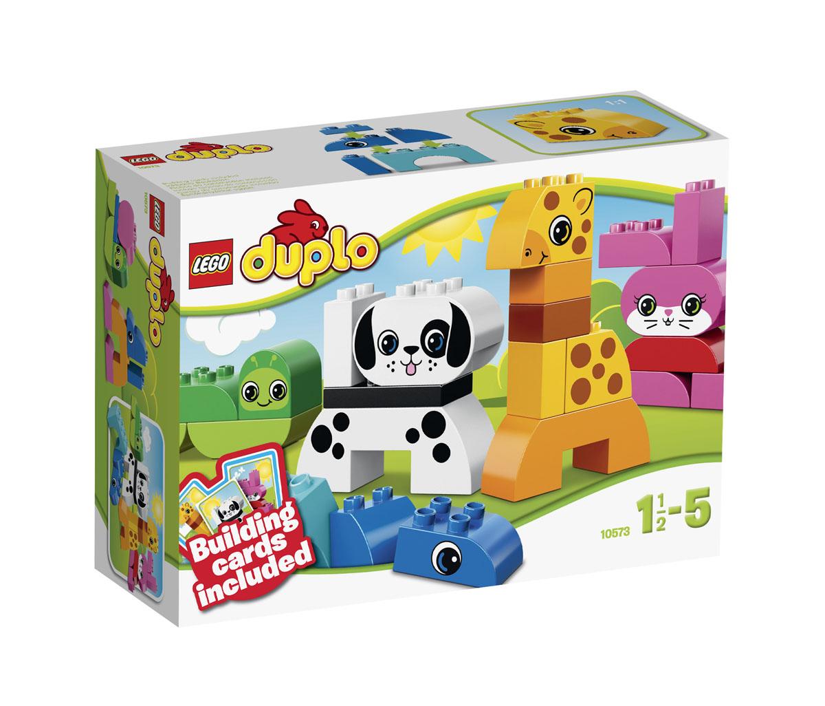 LEGO DUPLO Конструктор Веселые зверюшки 1057310573Познакомьте своего ребенка с миром творчества и веселого строительства! Встретьтесь с милыми животными в этом замечательном наборе Веселые зверюшки! Используйте карточки-подсказки, которые помогут юному строителю легко собрать жирафа, кролика, собаку и червячка — каждое животное имеет свой собственный яркий цвет. Затем приготовьтесь отправиться с ними в мир бесконечных игровых возможностей.