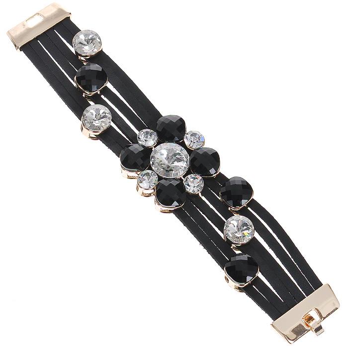 Браслет Taya, цвет: золотистый, черный. T-B-7006-BRAC-GL.WHITET-B-7006-BRAC-GL.WHITEОригинальный браслет Taya выполнен из бижутерного сплава, искусственной кожи и декорирован камнями. Браслет выполнен из кожаных полосок, которые крепятся к металлическим пластинам и закрывается на замочек-защелку. Браслет Taya позволит вам с легкостью воплотить самую смелую фантазию и создать собственный, неповторимый образ. Характеристики: Материал: бижутерный сплав, пластик. Длина браслета: 19 см. Ширина браслета: 3,5 см. Артикул: T-B-7006-BRAC-GL.WHITE.