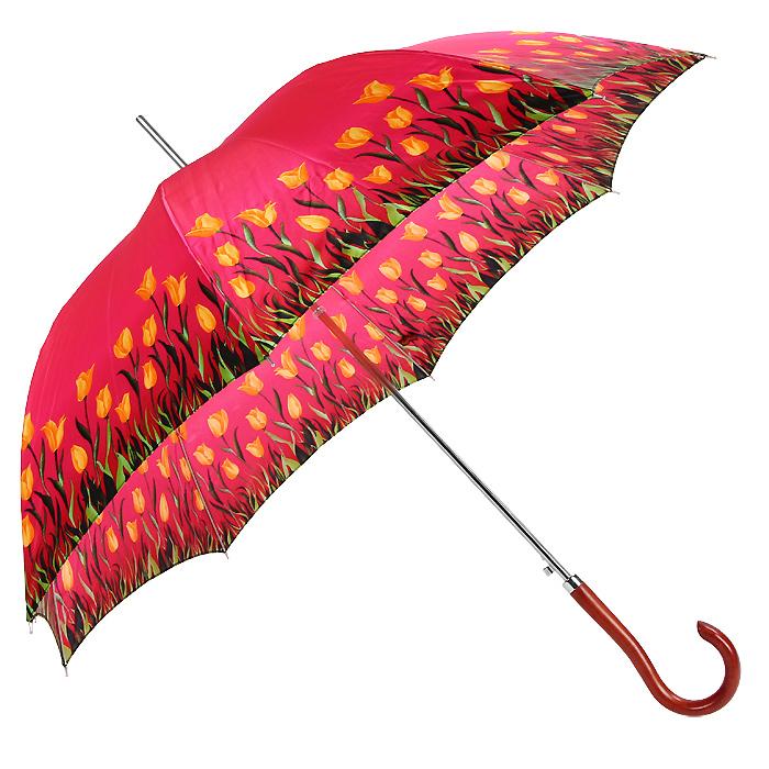 Зонт-трость женский Edmins, полуавтомат, цвет: розовый. 501123501123Стильный полуавтоматический зонт-трость Edmins даже в ненастную погоду позволит вам оставаться стильной и элегантной. Каркас зонта выполнен из восьми спиц из фибергласса и стального стержня. Купол зонта розового цвета, выполненный из плотного полиэстера под сатин, оформлен изящным цветочным узором. Зонт имеет полуавтоматический механизм сложения: купол открывается нажатием кнопки на рукоятке, а складывается вручную до характерного щелчка. Закругленная рукоятка, разработанная с учетом требований эргономики, выполнена из дерева. Такой яркий зонт поднимет настроением даже в самую дождливую погоду, а также станет модным элементом вашего гардероба.