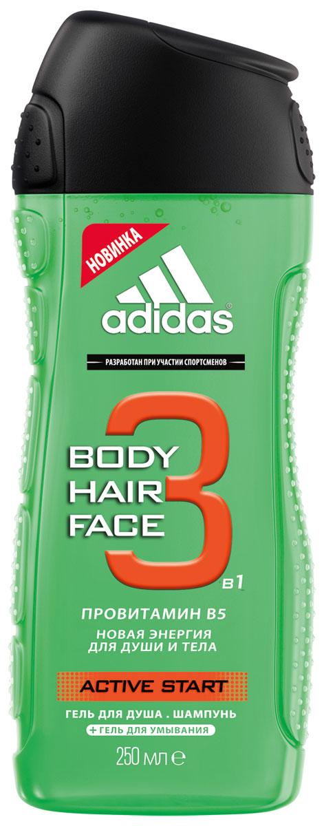 Шампунь-гель для душа Adidas Active Start, 250 мл3401315112Шампунь-гель для душа Active Start c формулой 2 в 1 для волос и кожи любого типа, которая эффективно и осторожно очищает и кондиционирует. В состав средства входят минералы, способствующие восстановлению кожи, которые сохраняют натуральный баланс и мягко ухаживает за вашими волосами. Идеальный гель для частого применения.