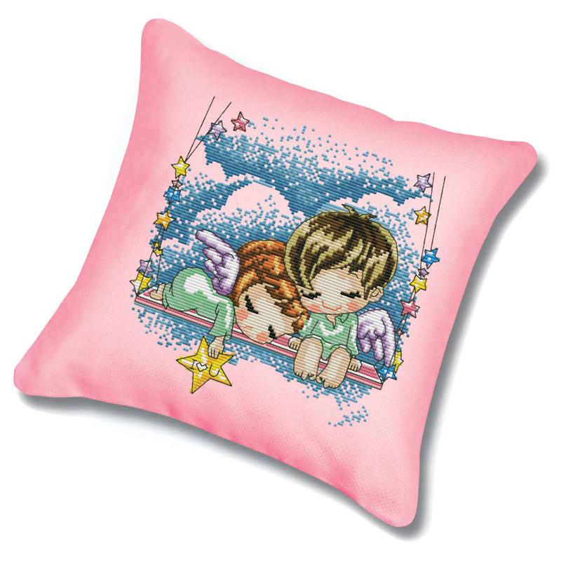 Набор для вышивания подушки Сон в облаках, цвет: розовый, 45 х 45 см 913Подушка 913 Сон в облаках (канва розовая)В наборе для вышивания крестом Сон в облаках есть все необходимое для создания оригинальной подушки: канва, цветная схема, нитки мулине, обратная сторона наволочки и 2 иглы. Подушка из канвы, оформленная красивым рисунком-вышивкой с изображением двух ангелочков на качелях, будет оригинально смотреться в интерьере вашего помещения. Вышивание крестом отвлечет вас от повседневных забот и превратится в увлекательное занятие! Работа, сделанная своими руками, создаст особый уют и атмосферу в доме и долгие годы будет радовать вас и ваших близких.
