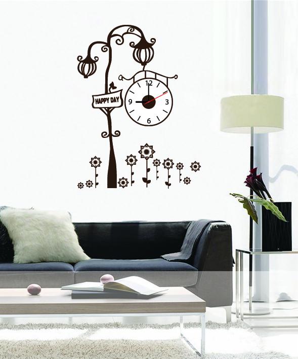 Настенные декоративные часы-стикеры Perfecto Happy Day. GLM-T012GLM-T012Настенные декоративные часы-стикеры Happy Day в виде фонарного столба с часами добавят в ваш интерьер оригинальности. Часы представляют собой стикер, выполненный из винила - тонкого эластичного материала, который хорошо прилегает к любым гладким и чистым поверхностям, легко моется и долго держится, после удаления не оставляет следов. Циферблат выполнен из пластика и имеет три стрелки - часовую, минутную и секундную, клеится к поверхности также при помощи стикера. Такие часы станут интересным дизайнерским решением не только спальни, гостиной или детской, но также и офиса. Характеристики: Материал: винил, пластик, картон. Цвет: белый, коричневый. Диаметр циферблата: 10 см. Размер упаковки: 18,5 см х 32 см х 4 см. Артикул: GLM-T012. Рекомендуется докупить одну батарейку типа АА, в комплект не входит.