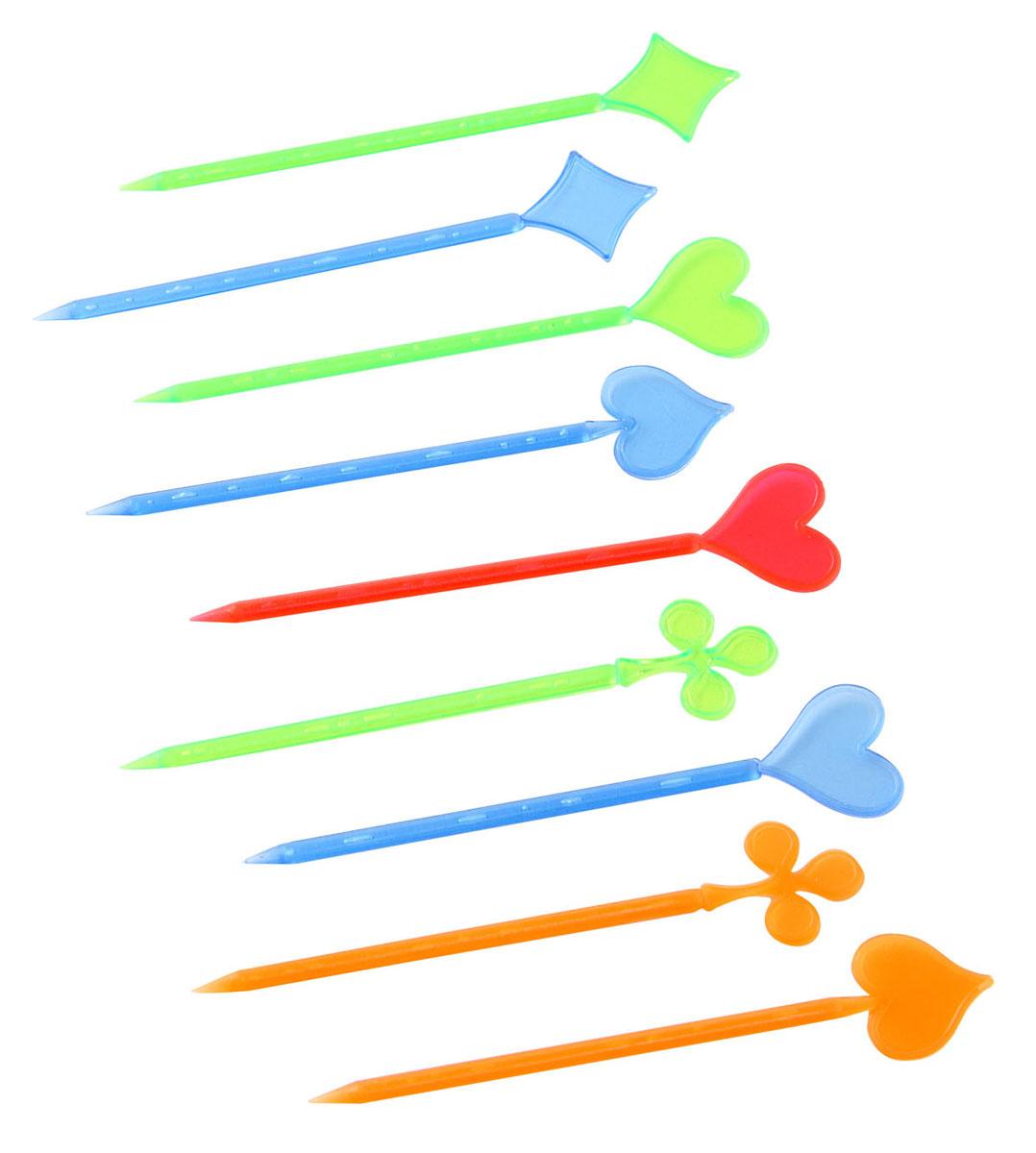 Палочки для канапе Fackelmann Карты, 8,5 см, 50 шт50417Палочки для канапе Fackelmann Карты выполнены из разноцветного пластика. Верхушки оформлены фигурками в виде карточных мастей. Такие палочки помогут вам создать оригинальные канапе и бутерброды из самых простых продуктов. Представьте, насколько ярким и красивым станет ваш праздничный стол, и как будут приятно удивлены гости мастерством хозяйки. Характеристики: Материал: пластик. Длина палочки: 8,5 см. Комплектация: 50 шт. Артикул: 50417. Компания Fackelmann была основана в 1948 году и в настоящее время является крупнейшим мировым поставщиком товаров для дома. В ассортименте компании найдутся товары для самых разных покупателей. Продукция Fackelmann выполнена из различных комбинаций металла - нержавеющей, хромированной, никелированной и луженой стали, светлого и темного дерева - бука и сосны, пластмассы, акрила, прозрачного, матового и цветного стекла. С продукцией Fackelmann ваш дом станет красивее, уютнее и намного удобнее!