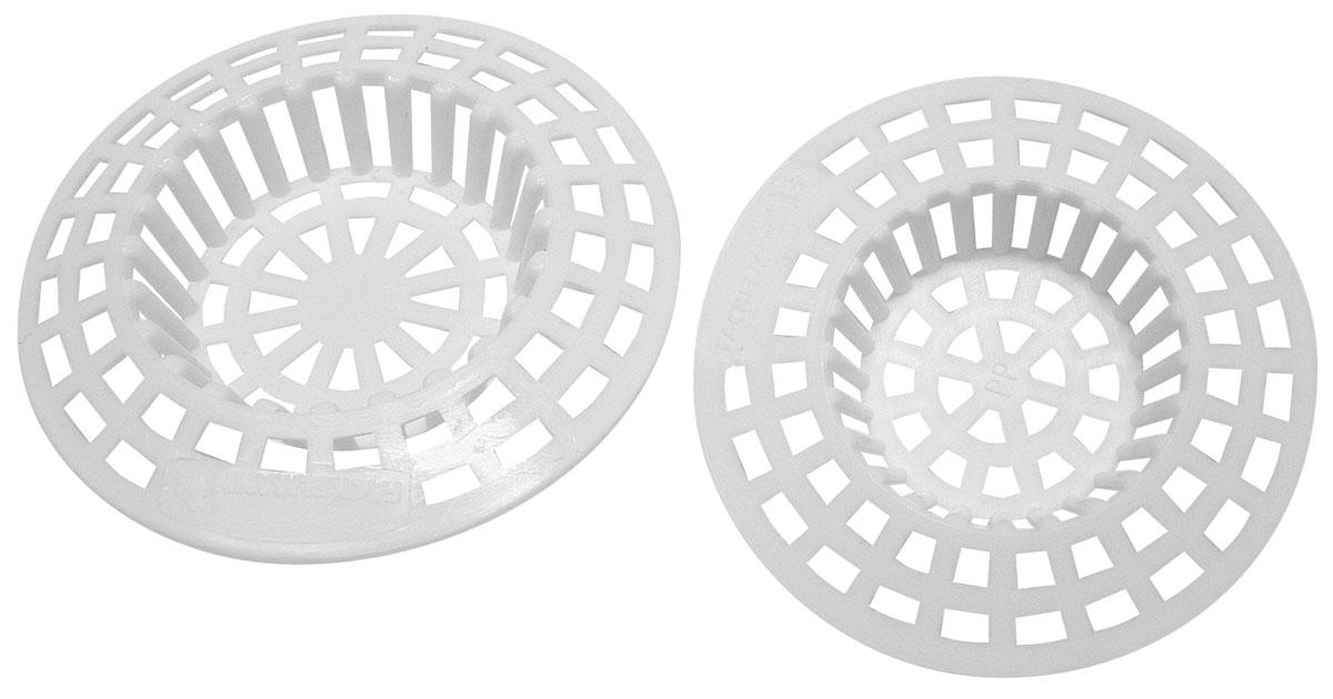 Фильтр для раковины Fackelmann Tecno, цвет: белый, 2 шт61044Фильтр для раковины Fackelmann Techno выполнен из металлизированного пластика белого цвета. Фильтр оснащен прорезями, что позволяет воде стекать, а остатки пищи задерживать в фильтре. Фильтр необходим на каждой кухне, так как лишний мусор может попасть в трубу и вызвать засор. Характеристики: Материал: пластик. Комплектация: 2 шт. Цвет: белый. Диаметр большого фильтра: 7 см. Диаметр малого фильтра: 6 см. Артикул: 61044.