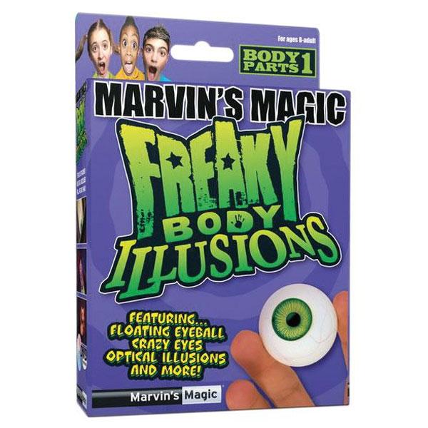 Набор фокусов №1 Смешные ужасы и иллюзии с глазами от Marvins MagicMMF 5760.1Развлекательный набор Смешные ужасы и иллюзии с глазами от Marvins Magic включает описание трюков и фокусов со своими глазами на русском языке с поясняющими рисунками, а также реквизит, необходимый для их выполнения. В этой небольшой коробочке есть все, что нужно, чтобы стать выдающимся фокусником: черный платок, 2 глазных яблока, набор карточек, диск, инструкция, карточка члена клуба Марвинс Мэйджик. Поразите друзей и близких оригинальными трюками и фокусами! Удивительные трюки и фокусы от Marvins Magic - это не только отличный тренажер для развития сообразительности, ловкости и быстроты реакции, но и замечательный подарок к праздникам! Наборы фокусов серии Смешные ужасы. Иллюзии с телом позволят маленьким фокусникам проделывать самые невероятные трюки и создавать удивительные иллюзии со своим телом. В каждый набор входит специальная реалистичная часть тела, DVD диск с инструкциями о том, как можно напугать и удивить с помощью этих аксессуаров.