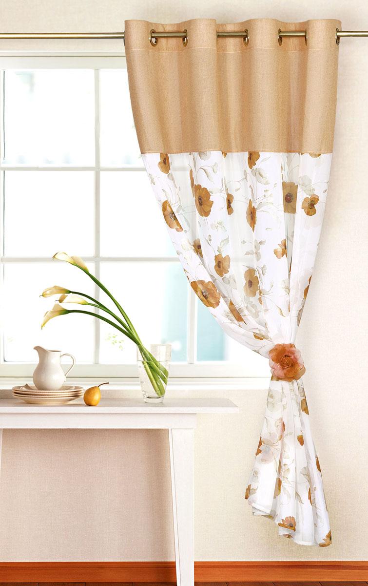 Штора готовая для кухни Garden, на кольцах, цвет: коричневый, размер 150*180 см. С 10213 - W191 - W1222 V5С 10213 - W191 - W1222 V5Элегантная тюлевая штора Garden выполнена из вуали (полиэстера). Сочетание плотной и полупрозрачной ткани, приятная цветовая гамма, цветочный принт привлекут к себе внимание и органично впишутся в интерьер помещения. Такая штора идеально подходит для солнечных комнат. Мягко рассеивая прямые лучи, она хорошо пропускает дневной свет и защищает от посторонних глаз. Отличное решение для многослойного оформления окон. Эта штора будет долгое время радовать вас и вашу семью! Штора крепится на карниз при помощи металлических колец, которые помогут красиво и равномерно задрапировать верх.