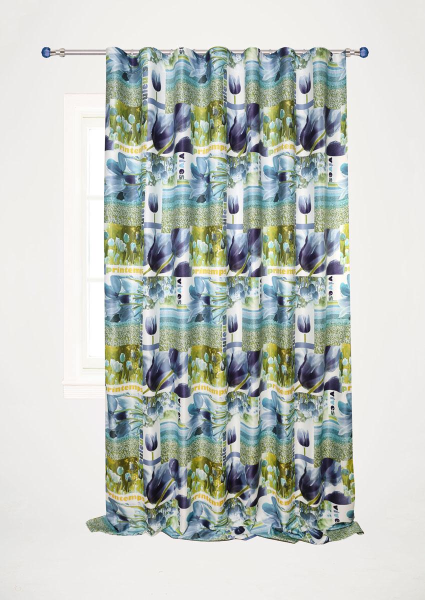 Штора готовая для гостиной Garden, на ленте, цвет: синий, размер 200*280 см. С 10231 - W1223 V5С 10231 - W1223 V5Штора портьерная Garden выполнена из сатин (полиэстера) и украшена изображением цветов. Блестящая текстура материала и нежная цветовая гамма привлекут к себе внимание и органично впишутся в интерьер помещения. Изделие оснащено шторной лентой для красивой сборки. Штора Garden великолепно украсит любое окно.