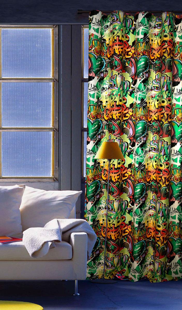 Штора готовая для гостиной Garden, на ленте, цвет: зеленый, размер 200*260 см. С 10237 - W1223 V4С 10237 - W1223 V4Штора портьерная для гостиной Garden выполнена из плотного сатина (полиэстера) и оформлена оригинальным принтом в виде граффити. Качественная текстура материала и яркая цветовая гамма украсят окно и сделает комнату стильной и необычной. Изделие оснащено шторной лентой для красивой сборки.