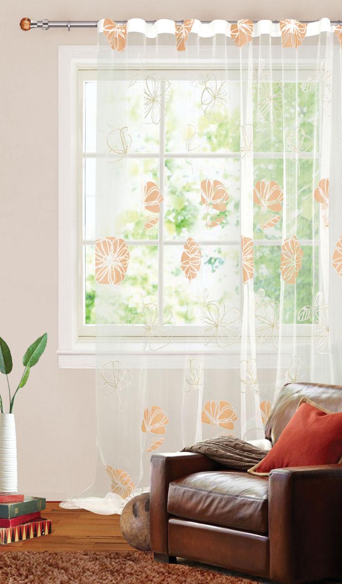 Штора готовая для гостиной Garden, на ленте, цвет: желто-белый, размер 300*280 см. С 3093 - W260 V3С 3093 - W260 V3Штора тюлевая для гостиной Garden выполнена из тонкой органзы (полиэстера и хлопка) и украшена цветочным узором. Легкая текстура материала и нежная цветовая гамма привлекут к себе внимание и органично впишутся в интерьер помещения. Изделие оснащено шторной лентой для красивой сборки. Штора Garden великолепно украсит любое окно.
