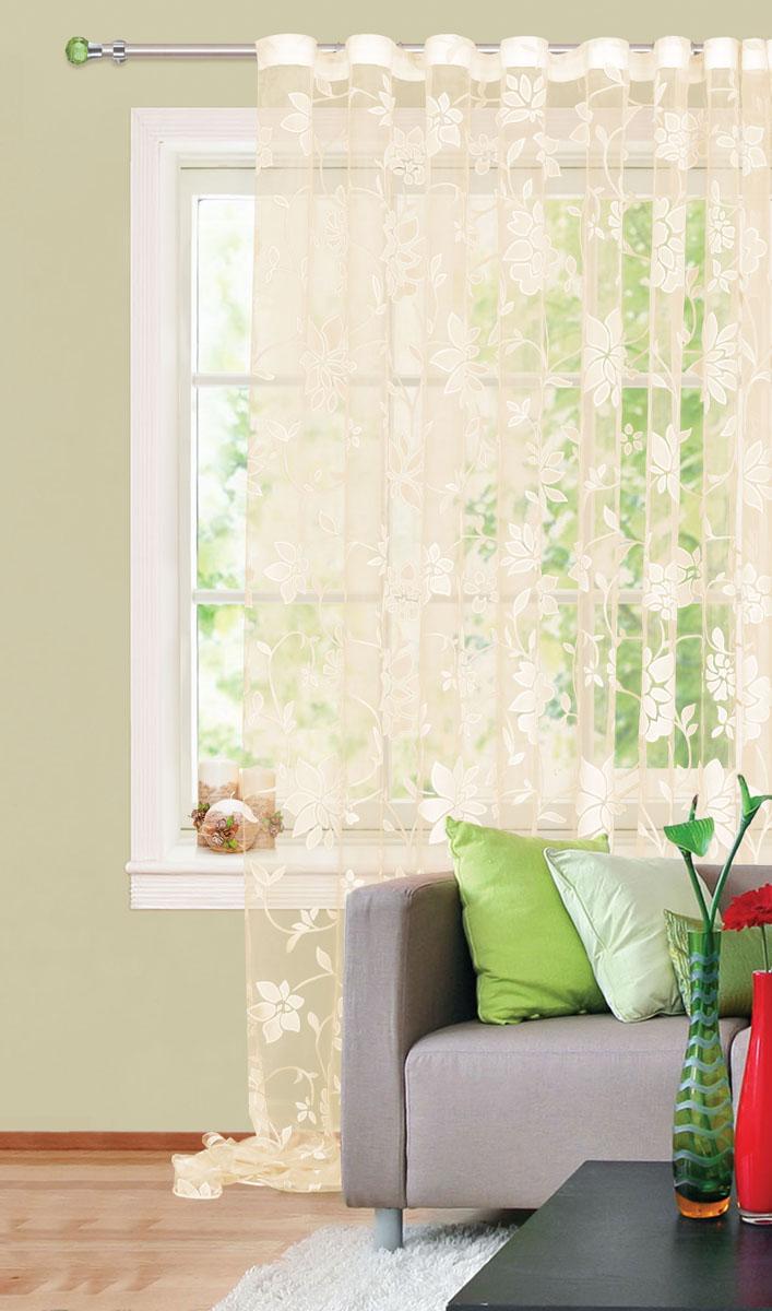 Штора готовая для гостиной Garden, на ленте, цвет: золотистый, размер 300* 280см. С 4172 - W260 V25С 4172 - W260 V25Штора тюлевая для гостиной Garden выполнена из тонкой полупрозрачной органзы (полиэстера) и богато украшена цветочным узором. Легкая текстура материала и нежная цветовая гамма привлекут к себе внимание и органично впишутся в интерьер помещения. Изделие оснащено шторной лентой для красивой сборки. Штора Garden великолепно украсит любое окно.