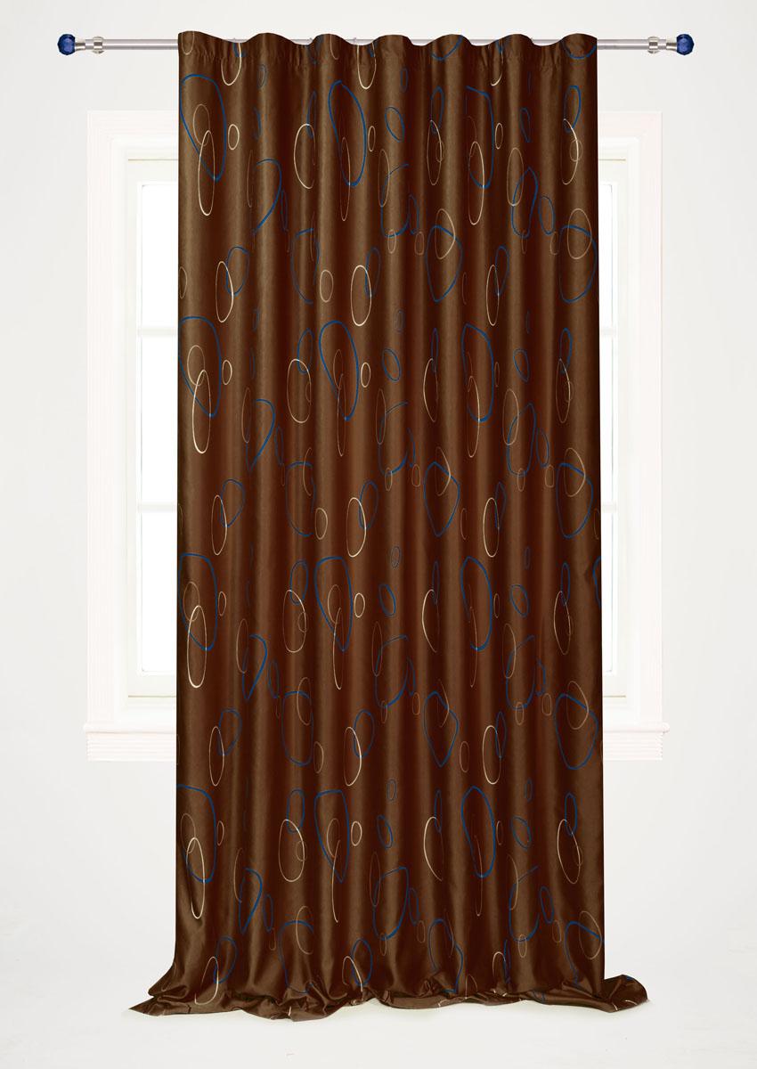 Штора готовая для гостиной Garden, на ленте, цвет: коричневый, размер 200*280 см. С 4180 - W1223 V20С 4180 - W1223 V20Штора портьерная для гостиной Garden выполнена из плотного сатина (полиэстера) и оформлена мелким узором из окружностей. Богатая текстура материала и спокойная цветовая гамма украсят любое окно и органично впишутся в интерьер помещения. Изделие оснащено шторной лентой для красивой сборки.