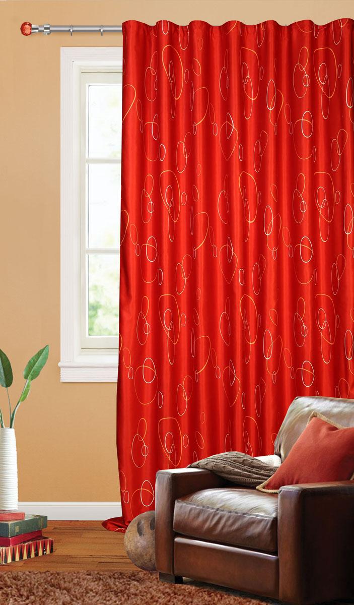 Штора готовая для гостиной Garden, на ленте, цвет: красный, размер 200*280 см. С 4180 - W1223 V31С 4180 - W1223 V31Штора портьерная для гостиной Garden выполнена из плотного сатина (полиэстера) и оформлена мелким узором из окружностей. Богатая текстура материала и спокойная цветовая гамма украсят любое окно и органично впишутся в интерьер помещения. Изделие оснащено шторной лентой для красивой сборки.