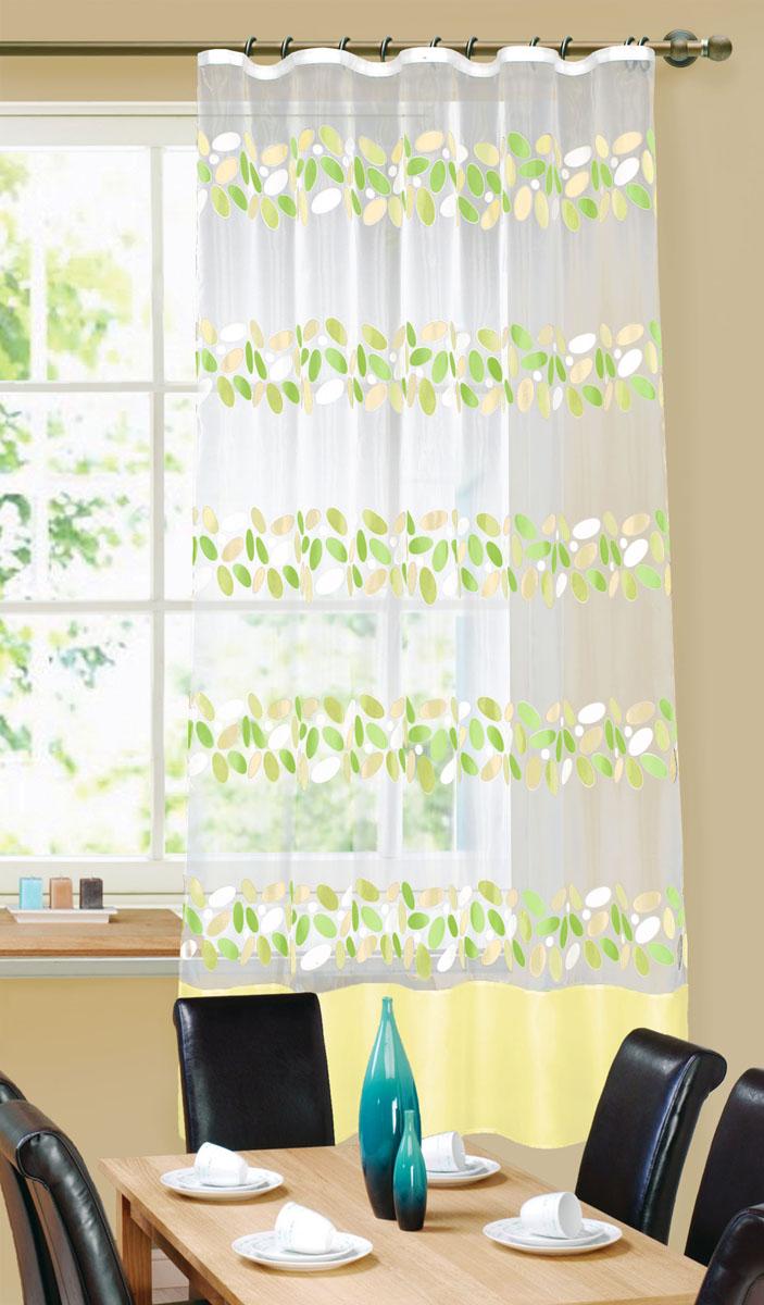 Штора готовая для кухни Garden, на ленте, цвет: зеленый, размер 145* 180 см. С 5268 - W260 V10С 5268 - W260 V10Штора тюлевая для кухни Garden выполнена из тонкой полупрозрачной органзы (полиэстера) и украшена темным цветочным узором. Легкая текстура материала и яркая цветовая гамма привлекут к себе внимание и органично впишутся в интерьер помещения. Изделие оснащено шторной лентой для красивой сборки. Штора Garden великолепно украсит любое окно.