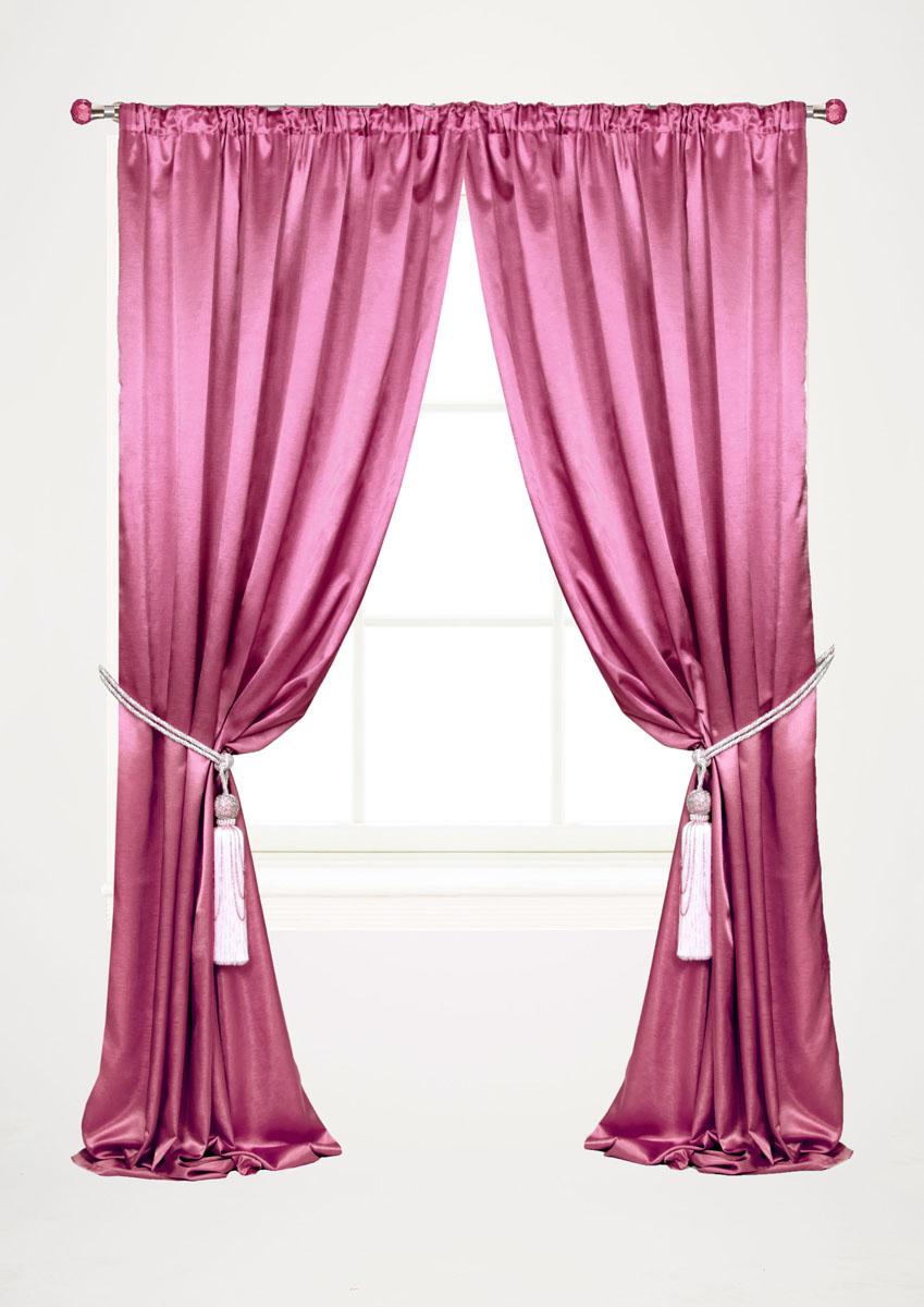 Штора готовая для гостиной Garden, на ленте, цвет: малиновый, размер 145*260 см. С 535082 V12С 535082 V12
