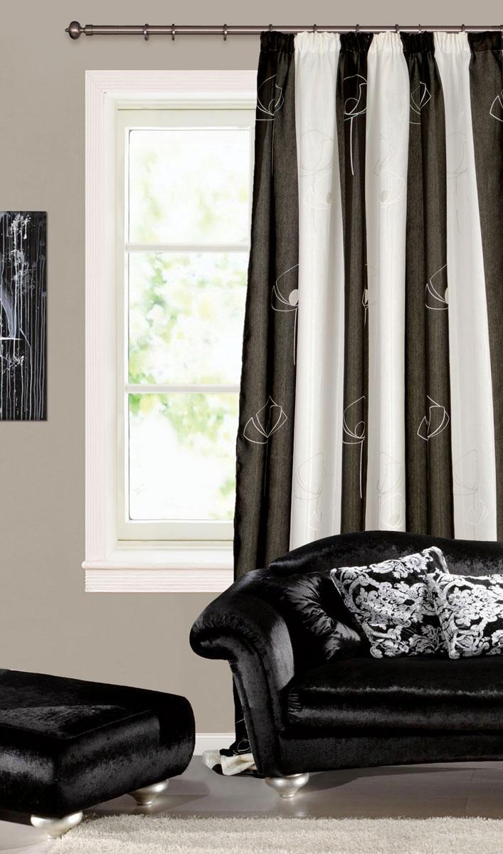 Штора готовая для гостиной Garden, на ленте, цвет: черный, белый,200* 280 см. С 6204 - W1223 V4С 6204 - W1223 V4Готовая портьерная штора для гостиной Garden, выполненная из плотного сатина (полиэстера), оформлена широкими вертикальными полосками и изящным узором с отделкой люрексом. Богатая текстура материала и спокойная цветовая гамма украсят любое окно и органично впишутся в интерьер помещения. Изделие оснащено шторной лентой для красивой сборки.