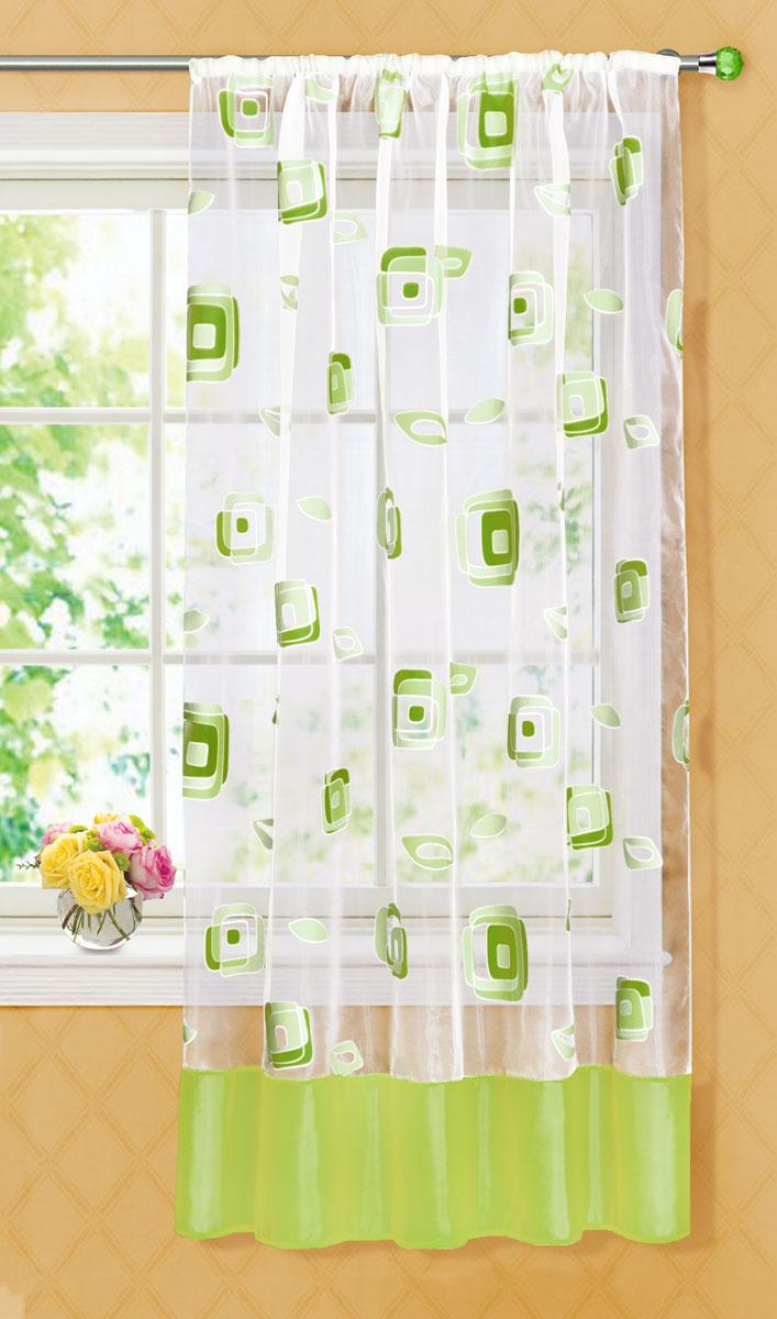 Штора готовая для кухни Garden, на ленте, цвет: зеленый, размер 145*180 см. С 6232 - W1160 V20С 6232 - W1160 V20Готовая тюлевая штора для кухни Garden выполнена из тонкой полупрозрачной органзы (полиэстера с добавлением хлопка) и оформлена узором в виде квадратиков. Легкая текстура материала и яркая цветовая гамма привлекут к себе внимание и станут великолепным украшением любого окна. Она добавит немного уюта и послужит прекрасным дополнением к интерьеру кухни. Изделие оснащено шторной лентой для красивой сборки.