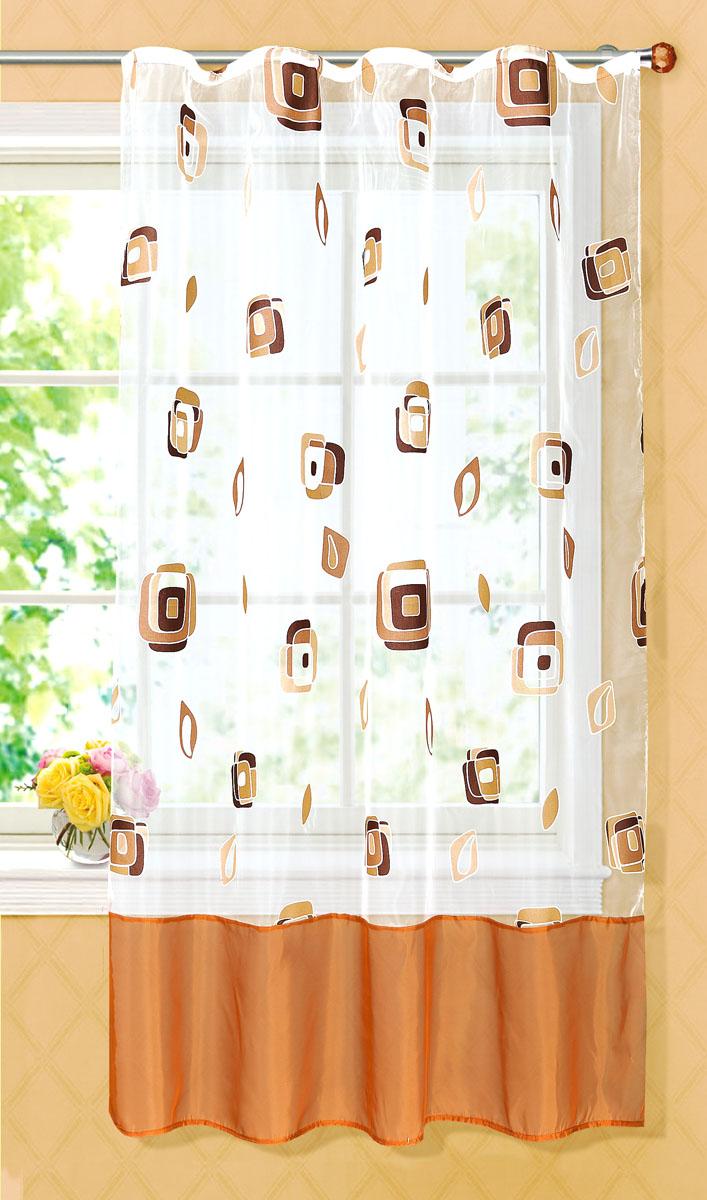 Штора готовая для кухни Garden, на ленте, цвет: коричневый, размер 145*180 см. С 6232 - W1160 V21С 6232 - W1160 V21Готовая тюлевая штора для кухни Garden выполнена из тонкой полупрозрачной органзы (полиэстера с добавлением хлопка) и оформлена узором в виде квадратиков. Легкая текстура материала и яркая цветовая гамма привлекут к себе внимание и станут великолепным украшением любого окна. Она добавит немного уюта и послужит прекрасным дополнением к интерьеру кухни. Изделие оснащено шторной лентой для красивой сборки.