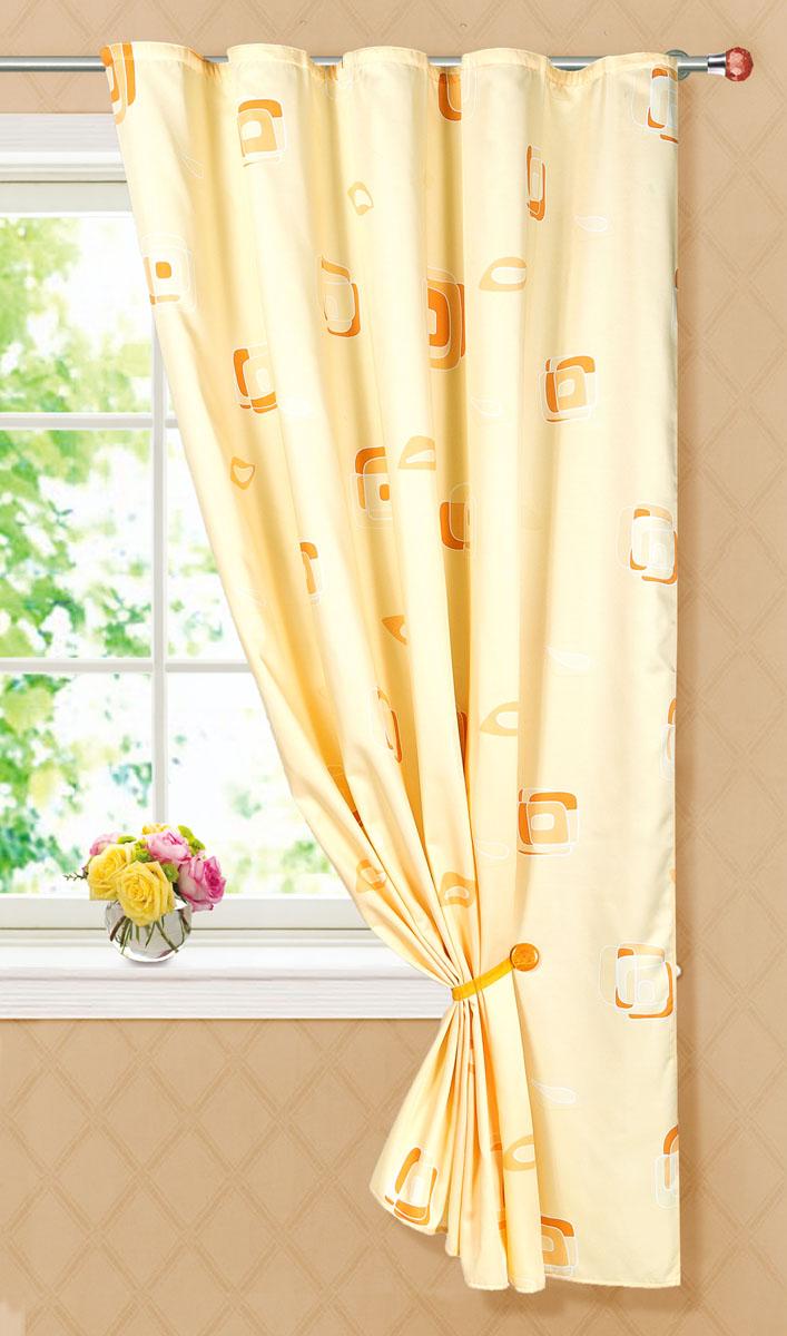Штора готовая для кухни Garden, на ленте, цвет: бежевый, размер 145*180 см. С 6232 - W1223 V27С 6232 - W1223 V27Портьерная готовая штора для кухни Garden выполнена из плотного сатина (полиэстера) и оформлена узором в виде квадратиков. Легкая текстура материала и яркая цветовая гамма привлекут к себе внимание и станут великолепным украшением любого окна. Она добавит немного уюта и послужит прекрасным дополнением к интерьеру кухни. Изделие оснащено шторной лентой для красивой сборки.