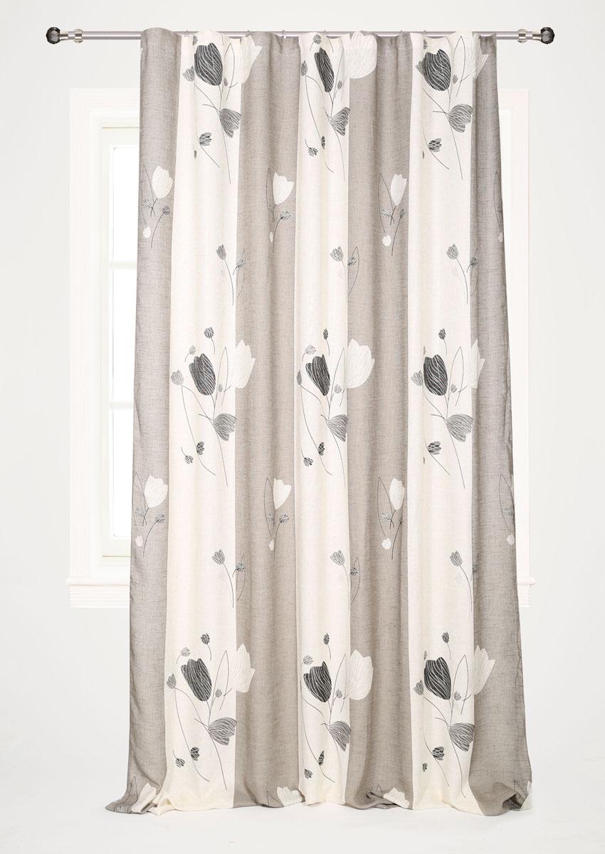 Штора готовая для гостиной Garden, на ленте, цвет: белый, серый, 200* 280 см. С 6251 - W1222 V13С 6251 - W1222 V13Штора готовая для гостиной Garden выполнена из плотного полиэстера и льна в серо-белой гамме и оформлена широкими вертикальными полосками и цветочным узором с блестящими нитями. Богатая текстура материала и спокойная цветовая гамма украсят любое окно и органично впишутся в интерьер помещения. Изделие оснащено шторной лентой для красивой сборки. Штора Garden великолепно украсит любое окно.