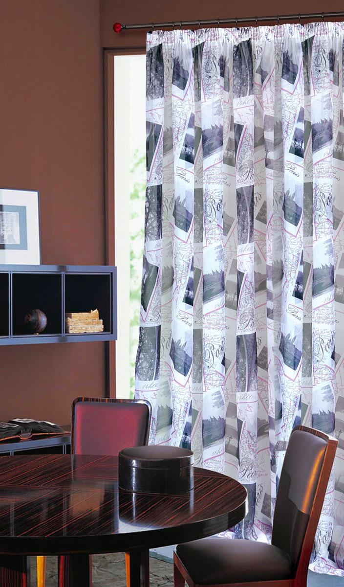 Штора готовая для гостиной Garden, на ленте, цвет: сиреневый, размер 300*260 см. С 8166 - W191 V8С 8166 - W191 V8Тюлевая штора Garden, изготовленная из вуали (полиэстера), станет великолепным украшением любого окна. Воздушная ткань с оригинальным рисунком создаст неповторимую атмосферу в вашем доме. В тюль вшита шторная лента. Шторная лента - специальная тесьма представляет собой каркас для всех видов складок. Внутри нее по всей длине проложены скрученные шнуры. Благодаря ей с драпировкой тюли может справиться даже человек, ничего не смыслящий в этой работе. Штора Garden придает законченность и гармоничность любому интерьеру. Простота модели и практичность ткани обеспечат удобство в эксплуатации и уходе.