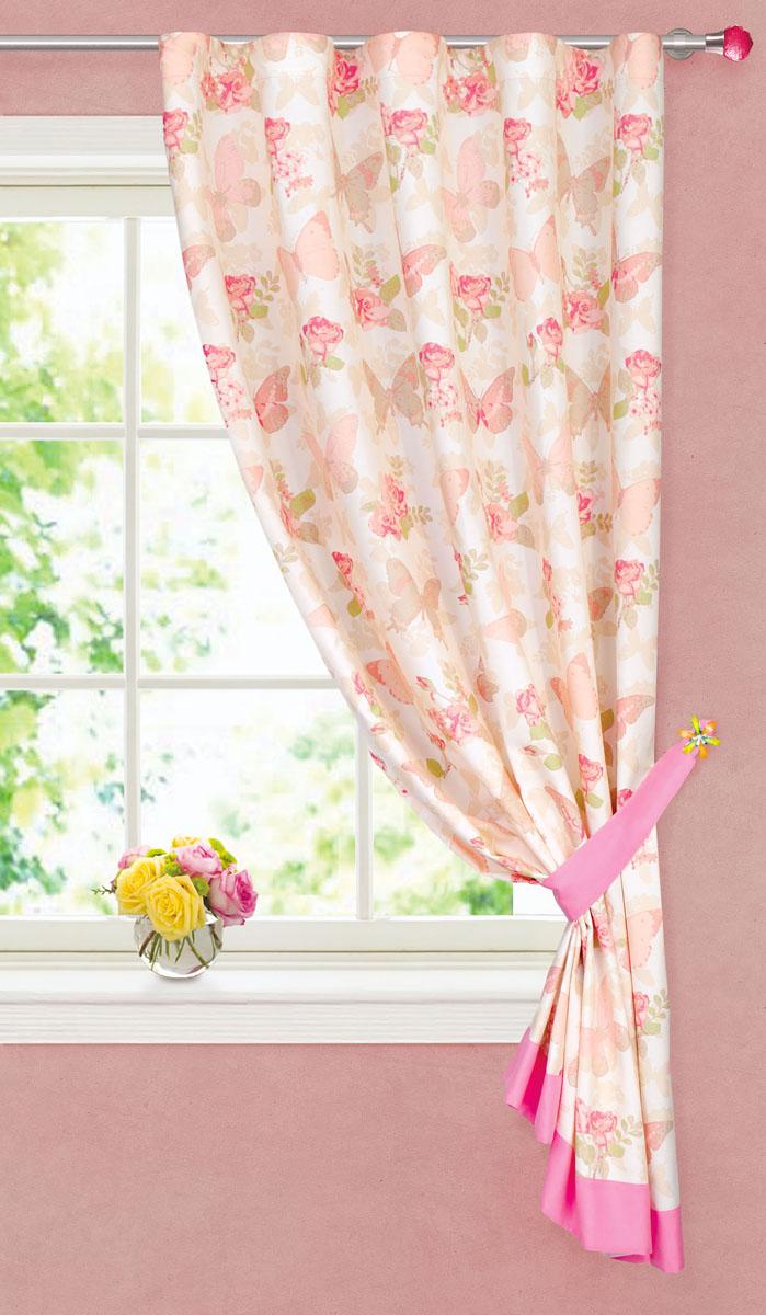 Штора готовая для кухни Garden, на ленте, цвет: розовый, бежевый, размер 180 см. ширина 150 смС 8173 - W1935 V28С 8173 - W1935 V28Портьерная штора для кухни Garden выполнена из плотного сатин (полиэстера) и оформлена изображением цветов и бабочек. Низ шторы украшен широким розовым кантом. Нежная цветовая гамма и изящный рисунок привлекут к себе внимание и органично впишутся в интерьер помещения. Для более изящного расположения на окне к шторе прилагается подхват. Штора крепится на карниз при помощи вшитой шторной ленты, которая поможет красиво и равномерно задрапировать верх. Штора Garden великолепно украсит любое окно.