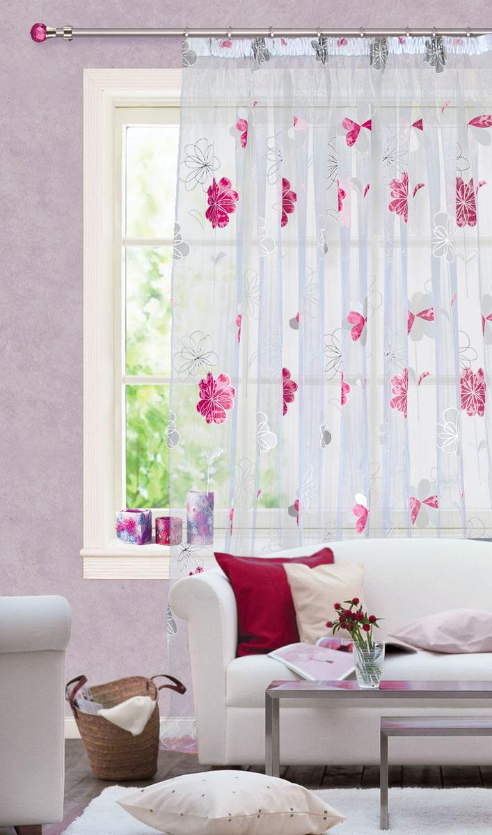 Тюль Garden, на ленте, цвет: белый, малиновый, 300* 280 см. С 9133 - W260 V8