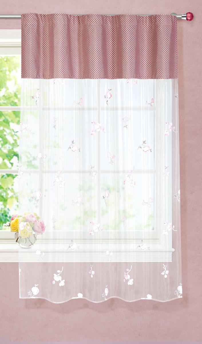 Штора готовая для кухни Garden, на ленте, цвет: розовый, размер 150*180 см. С 9144 - W260 - W1687 V13С 9144 - W260 - W1687 V13Тюлевая штора для кухни Garden выполнена из легкой органзы (полиэстера) с цветочным рисунком. Легкая текстура материала и яркая цветовая гамма привлекут к себе внимание и станут великолепным украшением кухонного окна. Штора добавит уюта и послужит прекрасным дополнением к интерьеру кухни. Изделие оснащено шторной лентой для красивой сборки.