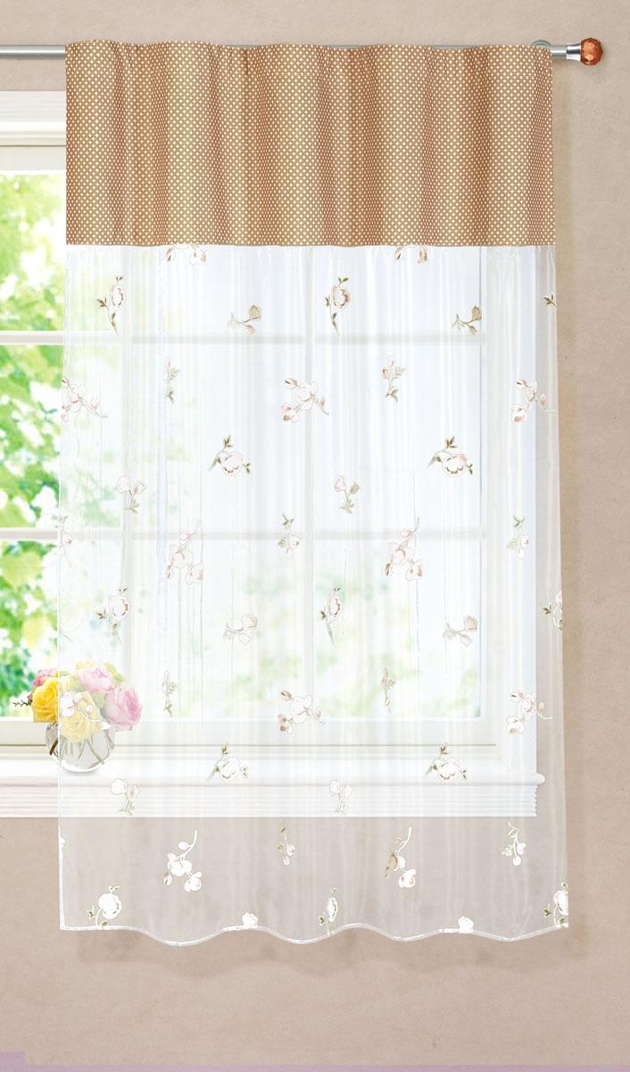 Штора готовая для кухни Garden, на ленте, цвет: бежевый, размер 150* 180 см. С 9144 - W260 - W1687 V18С 9144 - W260 - W1687 V18Тюлевая штора для кухни Garden выполнена из легкой органзы (полиэстера) с цветочным рисунком. Легкая текстура материала и яркая цветовая гамма привлекут к себе внимание и станут великолепным украшением кухонного окна. Штора добавит уюта и послужит прекрасным дополнением к интерьеру кухни. Изделие оснащено шторной лентой для красивой сборки.