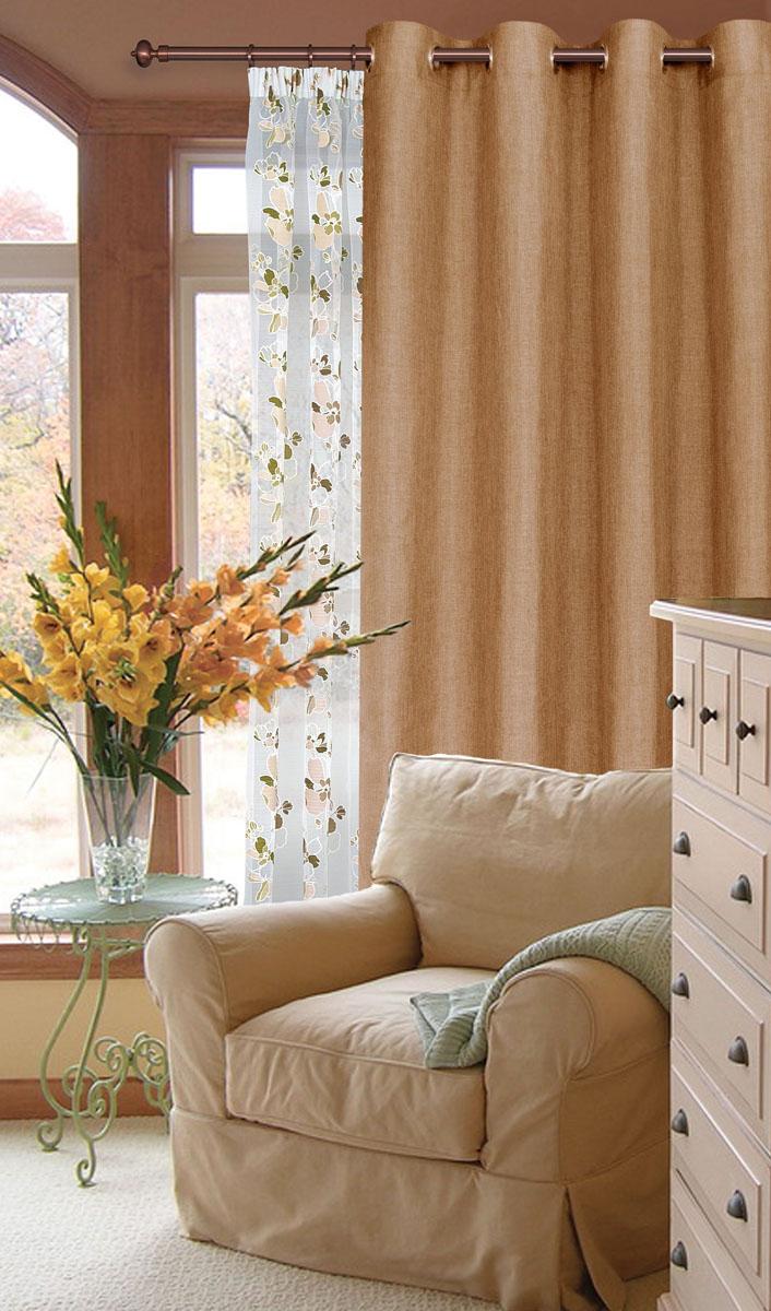 Штора готовая для гостиной Garden, на люверсах, цвет: светло-коричневый, размер 200*260 см. С W1884 V78076С W1884 V78076Готовая штора-портера Garden, выполненная из ткани рогожка (плотного полиэстера крупного плетения), привлечет к себе внимание и органично впишется в интерьер помещения. Изделие оснащено пластиковыми люверсами, для подвешивания на карниз-трубу, которые гармонично смотрятся и легко скользят по карнизу. Шторы на люверсах идеально подойдут для гостиной, а также для детской комнаты, так как ребенку вряд ли удастся ее сорвать. Штора Garden великолепно украсит любое окно.