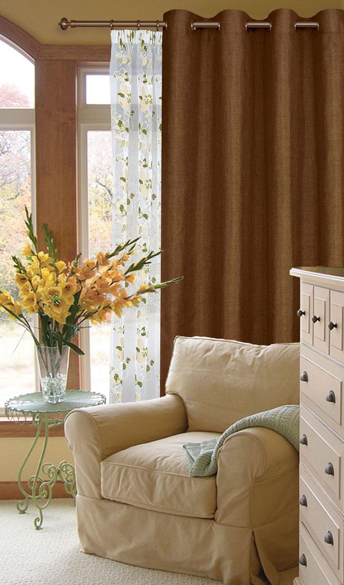 Штора готовая для гостиной Garden, на люверсах, цвет: коричневый, размер 200*260 см. С W1884 V78077С W1884 V78077Готовая штора-портера Garden, выполненная из ткани рогожка (плотного полиэстера крупного плетения), привлечет к себе внимание и органично впишется в интерьер помещения. Изделие оснащено пластиковыми люверсами, для подвешивания на карниз-трубу, которые гармонично смотрятся и легко скользят по карнизу. Шторы на люверсах идеально подойдут для гостиной, а также для детской комнаты, так как ребенку вряд ли удастся ее сорвать. Штора Garden великолепно украсит любое окно.
