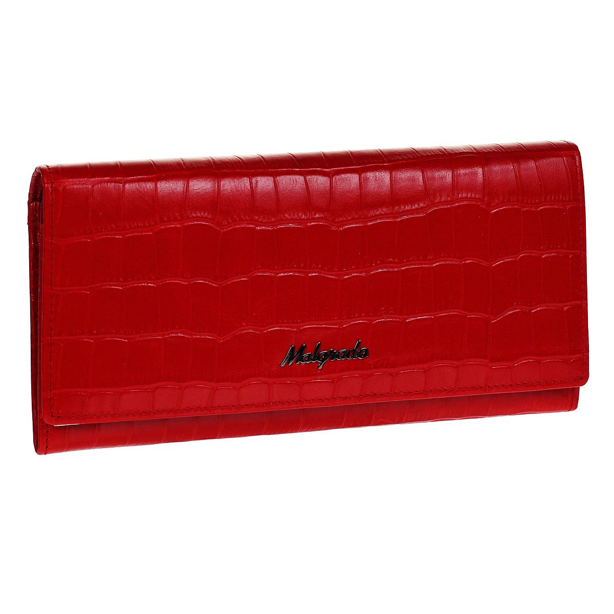 Кошелек Malgrado, цвет: красный. 72076-43702#72076-43702#Стильный кошелек Malgrado выполнен из лаковой натуральной кожи красного цвета с декоративным тиснением под крокодила. Внутри расположены пять основных отделений, два из которых на молнии, три горизонтальных кармана для бумаг, девять кармашков для кредитных карт, карман с клапаном и три отделения для купюр. На внешней стороне кошелька расположен карман на молнии. Кошелек упакован в подарочную металлическую коробку с логотипом фирмы. Такой кошелек станет замечательным подарком человеку, ценящему качественные и практичные вещи.