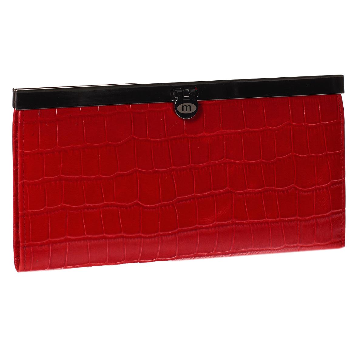 Кошелек Malgrado, цвет: красный. 73003-43702#73003-43702#Стильный кошелек Malgrado выполнен из лаковой натуральной кожи красного цвета с декоративным тиснением под крокодила. Внутри содержит два горизонтальных кармана из кожи для бумаг, четыре кармашка для кредитных карт, два кармашка со вставками из прозрачного пластика, отделение на молнии для мелочи и четыре отделения для купюр. Кошелек упакован в подарочную металлическую коробку с логотипом фирмы. Такой кошелек станет замечательным подарком человеку, ценящему качественные и практичные вещи.