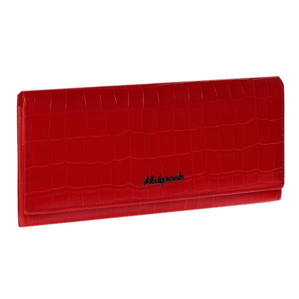 Кошелек Malgrado, цвет: красный. 72032-3-43702#72032-3-43702#Стильный кошелек Malgrado выполнен из лаковой натуральной кожи красного цвета с декоративным тиснением под рептилию, застегивается клапаном на кнопку. Внутри содержит один горизонтальный карман для бумаг, девять кармашков для кредитных карт, отделение на замке-защелке для мелочи и четыре отделения для купюр, одно из них на молнии. Кошелек упакован в подарочную металлическую коробку с логотипом фирмы. Такой кошелек станет замечательным подарком человеку, ценящему качественные и практичные вещи.