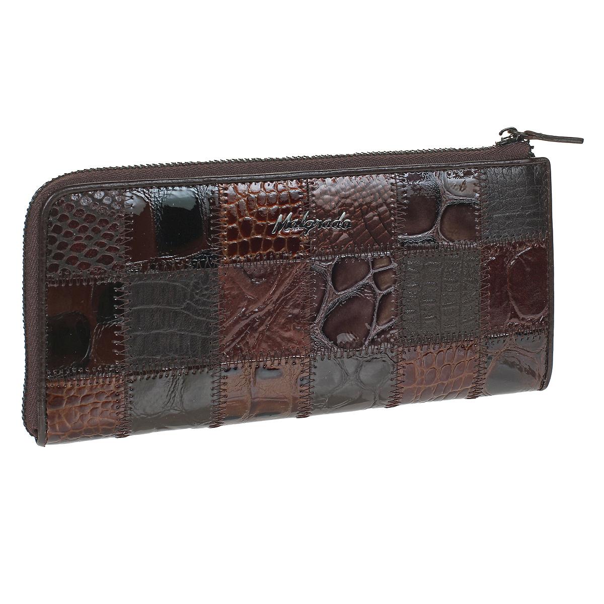 Кошелек Malgrado, цвет: коричневый. 76002A-490A76002A-490A CoffeeКлатч-кошелек Malgrado выполнен из натуральной кожи высшего качества. Лицевая сторона оформлена заплатками из кожи с разной фактурой и рисунком. Клатч-кошелек закрывается на застежку-молнию. Внутри - два отделения для купюр, два кармана для бумаг, карман для мелочи на застежке-молнии и двенадцать кармашков для дисконтных карт, визиток и кредиток. С внешней стороны, на задней стенке предусмотрен карман на молнии. Модель клатча-кошелька очень актуальна благодаря качеству исполнения, оригинальному дизайну и удобному размеру. Клатч-кошелек упакован в фирменную картонную коробку.