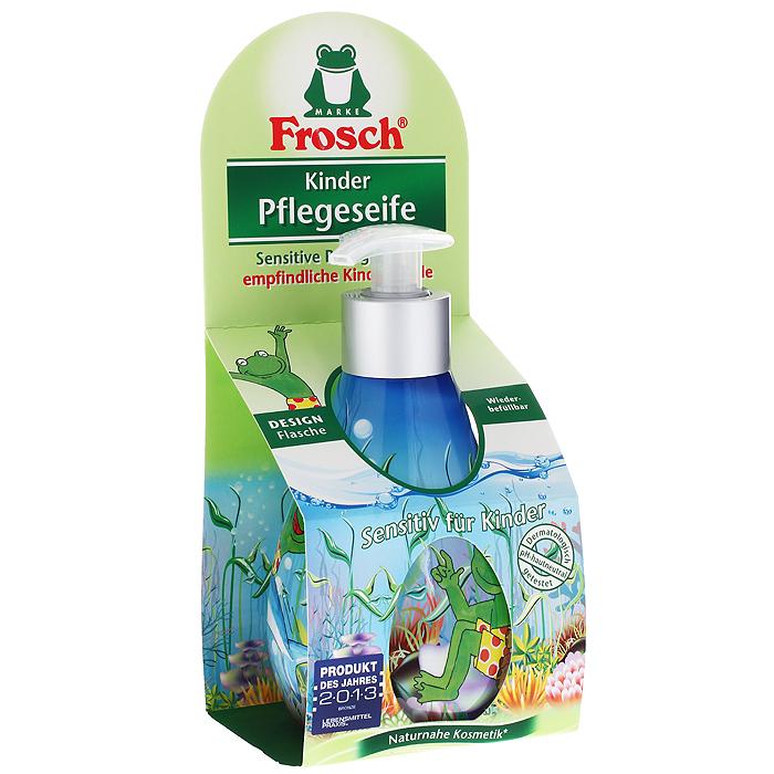 Жидкое детское мыло для рук Frosch, ухаживающее, 300 мл101685Детское мыло для рук Frosch - это мягко ухаживающее мыло, нежные увлажняющие компоненты которого специально разработаны под различные потребности чувствительной детской кожи. Ухаживающее детское мыло Frosch при каждом мытье рук защищает кожу от пересушивания. Кроме того, питательные, смягчающие компоненты сохраняют естественную защиту кожи и дают приятное ощущение мягкости. Эту нежную концепцию дополняет мягкий цветочный аромат. Мыло pH-нейтрально для кожи и проверено дерматологами. Кожно-раздражающее и сенсобилизирующее действие отсутствует. Предназначено для детей от 3-х лет.