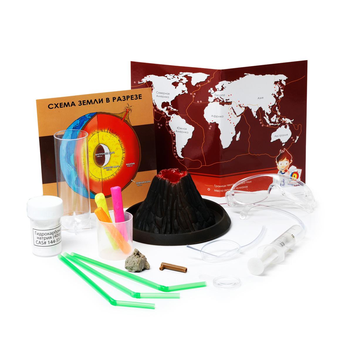 Научно-познавательный набор Bondibon Наука о вулканахВВ0935Если Вы восхищаетесь самым могущественным, величественным и устрашающим порождением матушки-природы – горами, то Вам наверняка не раз хотелось познать мир самых опасных из них. Благодаря своему «живому» организму вулканы собирают тысячи любопытных туристов и ученых со всего мира, которые мечтают хотя бы раз в жизни увидеть извержение магмы. Даже если Вы живете в абсолютно ровной местности, вы сможете показать своему малышу все особенности и характеристики вулкана. Научно-популярный набор «Наука о вулканах» поможет вашему ребенку не только понять, как устроена эта необычная гора, но и смоделировать настоящее извержение «вулкана». С помощью 5 экспериментов он сможет увидеть все процессы, происходящие в кратере вулканов. И как знать, может быть, уже через десяток лет мир откроет для себя еще одного гениального геолога.