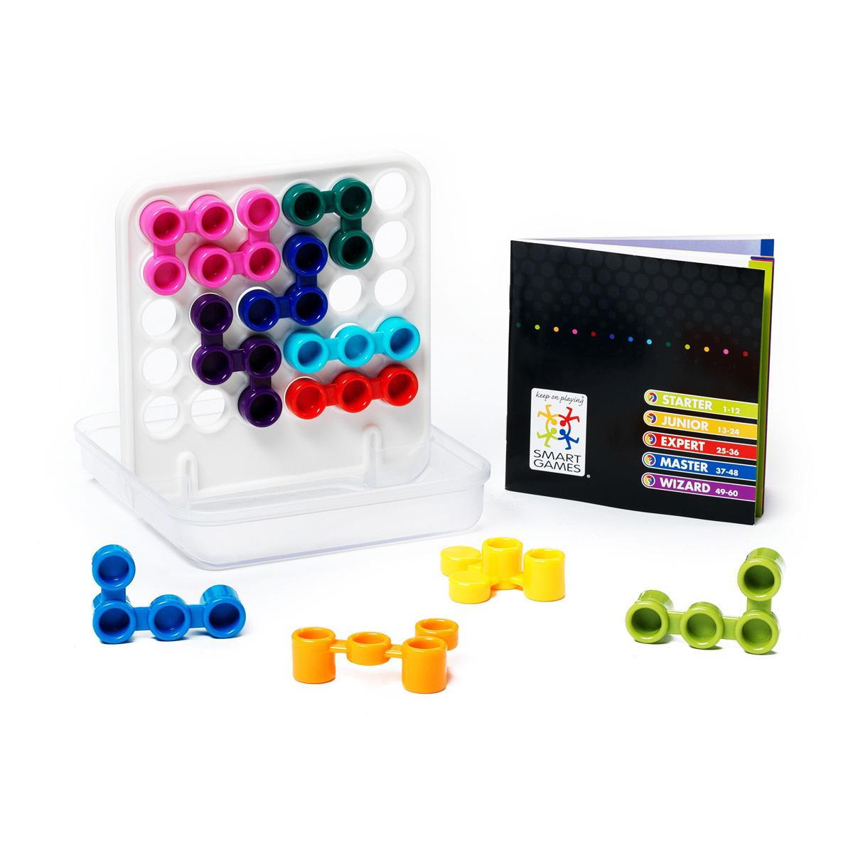 Логическая игра Bondibon Smartgames ДуплексВВ0948Увлекательная головоломка для игры в компании. Дуплекс - значит двойной. Эта занятная головоломка построена на поиске сочетании двух частей: двух сторон решетки, двух выступающих частей деталей. В игре необходимо расположить детали головоломки на игровом поле-решетке таким образом, чтобы с двух сторон отсутствовали видимые отверстия. Не сдавайся, ошибайся, пробуй, экспериментируй и когда у тебя все получится, ты обязательно почувствуешь двукратный прилив сил и уверенности в себе! Дуплекс научит вас и вашего ребенка ставить и достигать значимые цели и находить компромиссы. И эти незаменимые в современном быстроменяющемся мире навыки вы сможете получить в увлекательной игровой деятельности. Игра имеет 5 уровней сложности. С ее помощью можно развить логическое мышление и познавательные способности, социальное развитие, концентрацию внимания, тренировку памяти, фантазию и мелкую моторику. В комплект входят: буклет с 60 заданиями с ответами, 11 цветных деталей, игровая доска...