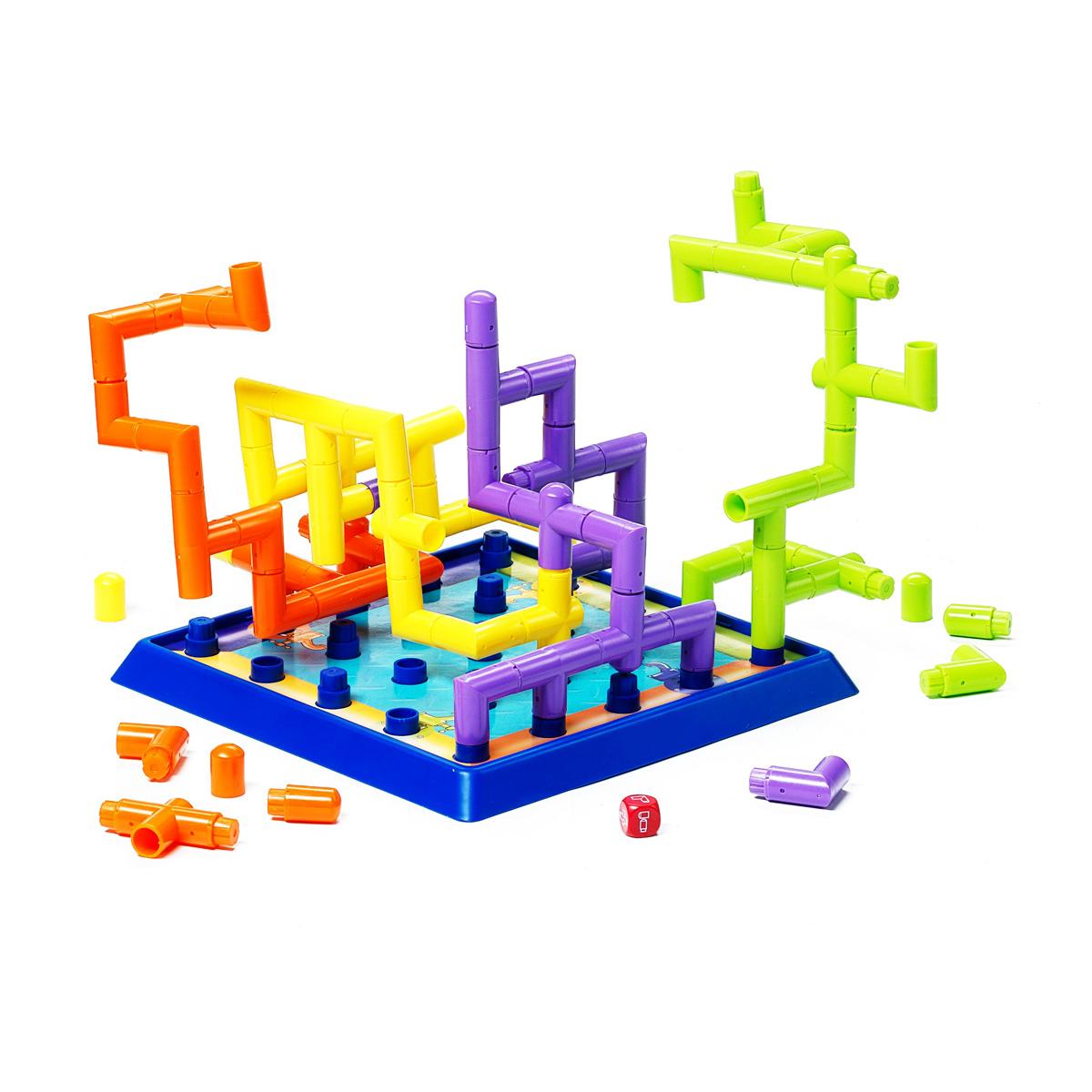 Настольная 3D-игра Bondibon Smartgames МагистральВВ0968Семейная стратегическая игра. Вам предстоит очень важная и ответственная работа: соединить элементы системы труб так, чтобы доставить некое уникальное вещество от его источника прямо на завод по производству универсальной волшебной жидкости. Трубы имеют разную форму, и придется поразмыслить в какую сторону направить свою магистраль, чтобы конкуренты не смогли помешать. Побеждает тот, кто первым завершит конструкцию, протянув магистраль от отправной точки до противоположной стороны игрового поля. Прекрасные надежные пластмассовые конструкции ярких цветов прослужат долго и смогут не раз воплощать смелые технические решения даже самых юных инженеров. В комплект игры входят: игровое поле, 64 элемента для построения магистрали и кубик.
