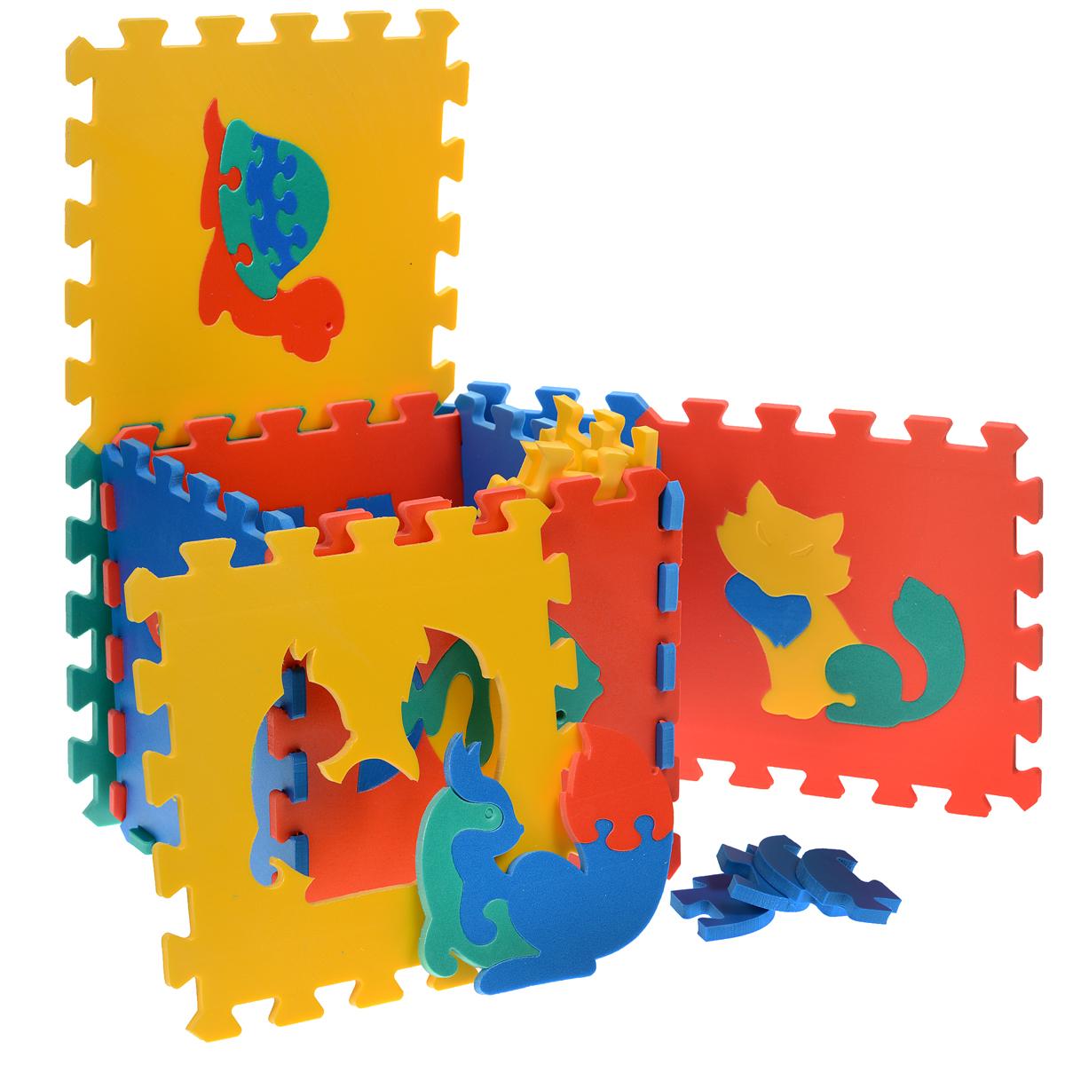 Коврик-пазл Животные, 10 элементов45426Мягкий коврик-пазл Животные, несомненно, заинтересует вашего малыша. Коврик складывается из детяти плиток основных цветов (синего, желтого, красного и зеленого) со съемными кромками и уголками. В каждый элемент встроена сборная мозаика в виде животного. Игры с ковриком-мозаикой Животные способствуют развитию у малышей мелкой моторики рук, тактильных ощущений, фантазии, способности анализировать и сопоставлять детали, знакомят их понятиями формы, размера и цвета предмета. Коврик выполнен из экологически безопасного полимерного материала, обладающего большой плотностью, высоким сопротивлением нагрузкам на разрыв и сгиб, теплоизоляционными качествами и способностью сохранять форму и гибкость при охлаждении. Это обеспечивает комфорт и удобство в использовании в виде напольного покрытия в детской и ванной комнате, в спортивном зале.