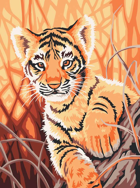 Живопись на холсте Тигренок в джунглях, 30 см х 40 см217-CE Тигренок в джунгляхЖивопись на холсте Тигренок в джунглях - это набор для раскрашивания по номерам акриловыми красками на холсте. В набор входят: - холст на подрамнике с нанесенным рисунком, - пробный лист с нанесенным рисунком, - набор акриловых красок, - 3 кисти, - настенное крепление для готовой картины. Каждая краска имеет свой номер, соответствующий номеру на картинке. Нужно только аккуратно нанести необходимую краску на отмеченный для нее участок. Таким образом, шаг за шагом у вас получится великолепная картина. С помощью серии наборов Живопись на холсте вы можете стать настоящим художником и создателем прекрасных картин. Вы получите истинное удовольствие от погружения в процесс творчества и созданные своими руками картины украсят интерьер вашего дома или станут прекрасным подарком. Техника раскрашивания на холсте по номерам дает возможность легко рисовать даже сложные сюжеты. Прекрасно развивает художественный вкус, аккуратность и...
